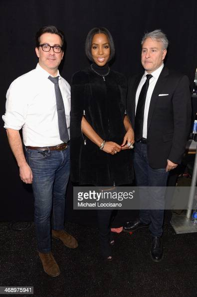 Designers Isaac Franco and Ken Kaufman of Kaufmanfranco with singer Kelly Rowland backstage at the Kaufmanfranco fashion show during MercedesBenz...