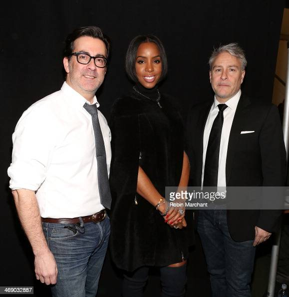 Designers Isaac Franco and Ken Kaufman of Kaufmanfranco with singer Kelly Rowland backstage at the Kaufmanfranco Show during MercedesBenz Fashion...