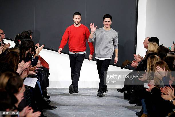 Designers Jack McCollough and Lazaro Hernandez walk the runway at the Proenza Schouler show during MercedesBenz Fashion Week Fall 2015 at the Marcel...