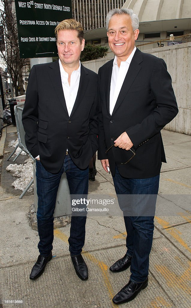 Designers James Mischka and Mark Badgley attend Fall 2013 Mercedes-Benz Fashion Show at The Theater at Lincoln Center on February 12, 2013 in New York City.