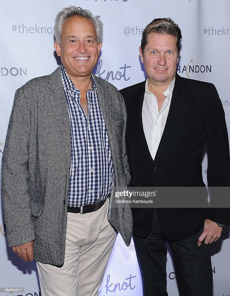 Designers <a gi-track='captionPersonalityLinkClicked' href=/galleries/search?phrase=James+Mischka&family=editorial&specificpeople=642521 ng-click='$event.stopPropagation()'>James Mischka</a> and Mark Badgley attend the Knot Gala 2013 at New York Public Library - Astor Hall on October 14, 2013 in New York City.