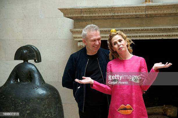 Designers Jean Paul Gaultier and Agatha Ruiz de la Prada attend the 'X Prix Dialogo' awards at the French Embassy on June 4 2013 in Madrid Spain