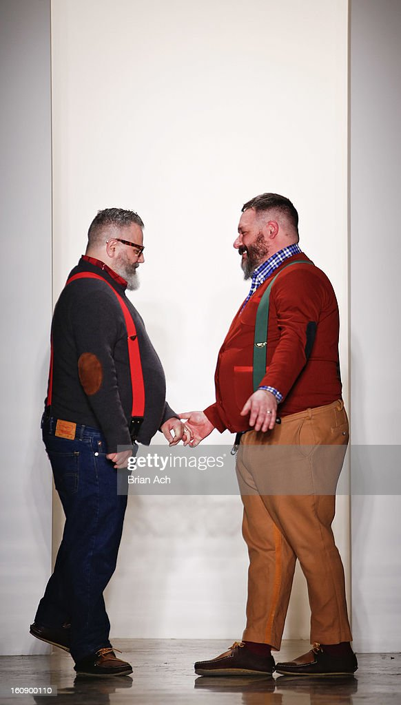 Designers Jeffrey Costello and Robert Tagliapietra appear on the runway at the Costello Tagliapietra fall 2013 fashion show during MADE Fashion Week at Milk Studios on February 7, 2013 in New York City.