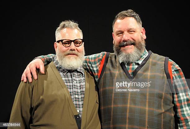Designers Jeffrey Costello and Robert Tagliapietra attend Costello Tagliapietra fashion show during MercedesBenz Fashion Week Fall 2015 at The...