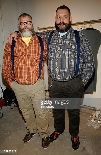 Designers Jeffrey Costello and Robert Tagliapietra backstage at the Costello Tagliapietra Spring 2011 fashion show during MercedesBenz Fashion Week...