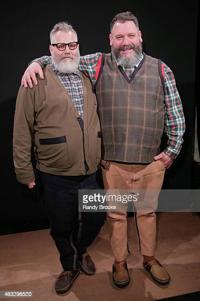 Designers Jeffrey Costello and Robert Tagliapietra Pose backstage at the Costello Tagliapietra Runway Show during MercedesBenz Fashion Week Fall...