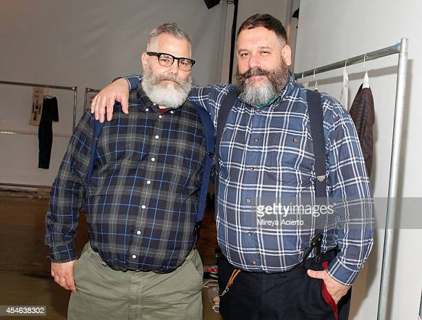 Designers Jeffrey Costello and Robert Tagliapietra prepare backstage at the Costello Tagliapietra fashion show during MercedesBenz Fashion Week...