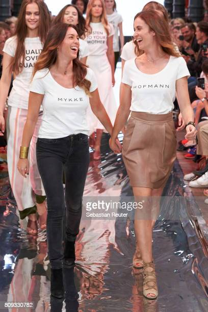 Designers Jelena Radovanovic and Sedina Halilovic walk the runway at the Holy Ghost show during the MercedesBenz Fashion Week Berlin Spring/Summer...