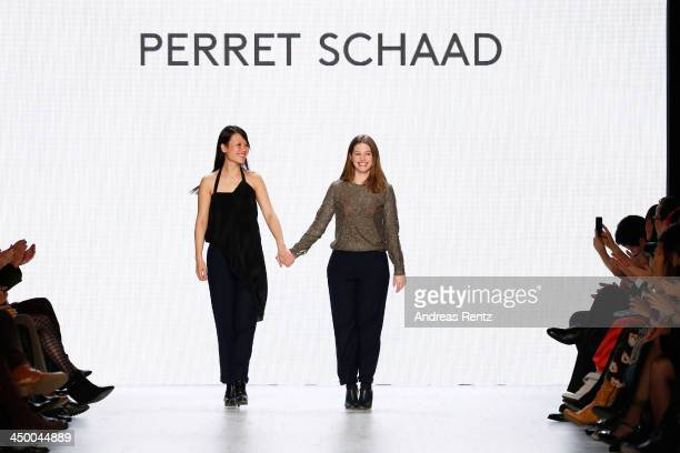 Designers Johanna Perret and Tutia Schaad on the runway after the Perret Schaad show during MercedesBenz Fashion Days Zurich 2013 on November 16 2013...