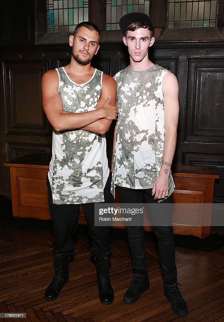 Designers Jordan Klein (L) and Judson Harmon attend the ODD presentation during Mercedes-Benz Fashion Week Spring 2014 at The Highline Hotel on September 4, 2013 in New York City.