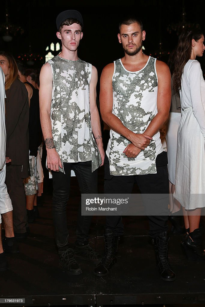 Designers Judson Harmon (L) and Jordan Klein attend the ODD presentation during Mercedes-Benz Fashion Week Spring 2014 at The Highline Hotel on September 4, 2013 in New York City.