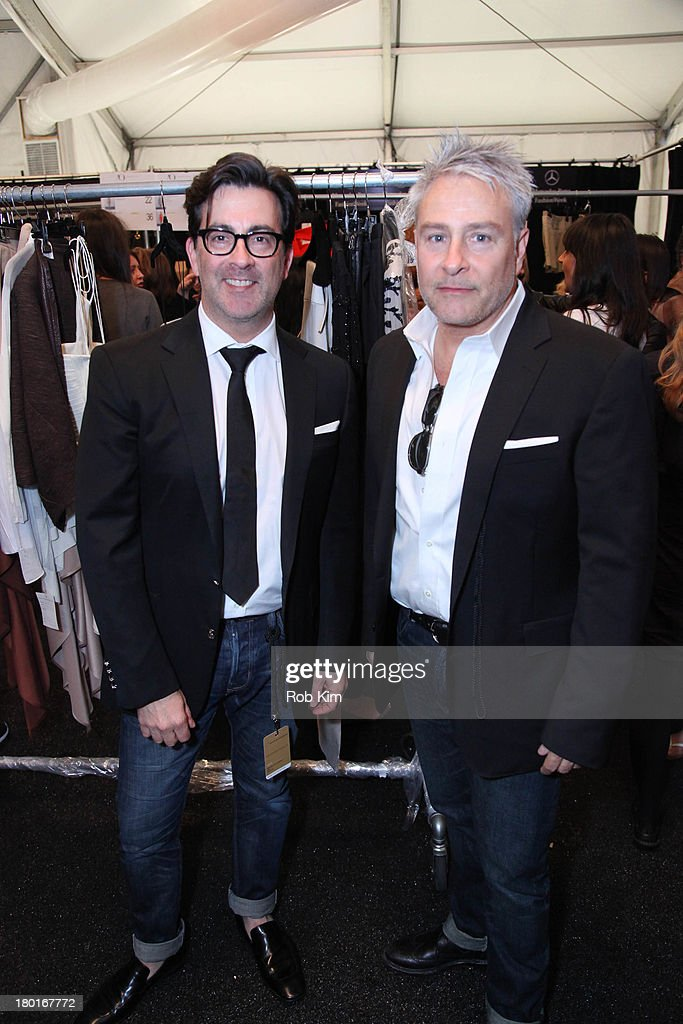 Designers Ken Kaufman and Isaac Franco backstage at the Kaufmanfranco show during Spring 2014 MercedesBenz Fashion Week at The Theatre at Lincoln...