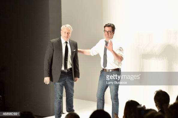 Designers Ken Kaufman and Isaac Franco of Kaufmanfranco attend the Kaufmanfranco fashion show during MercedesBenz Fashion Week Fall 2014 at The...