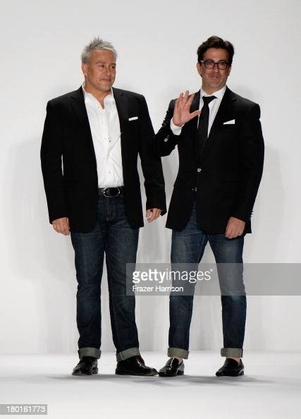 Designers Ken Kaufman and Isaac Franco walk the runway at the Kaufmanfranco fashion show during MercedesBenz Fashion Week Spring 2014 at The Theatre...