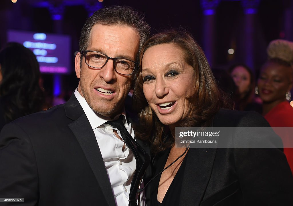 Designers Kenneth Cole (L) and Donna Karan attend the 2015 amfAR New York Gala at Cipriani Wall Street on February 11, 2015 in New York City.