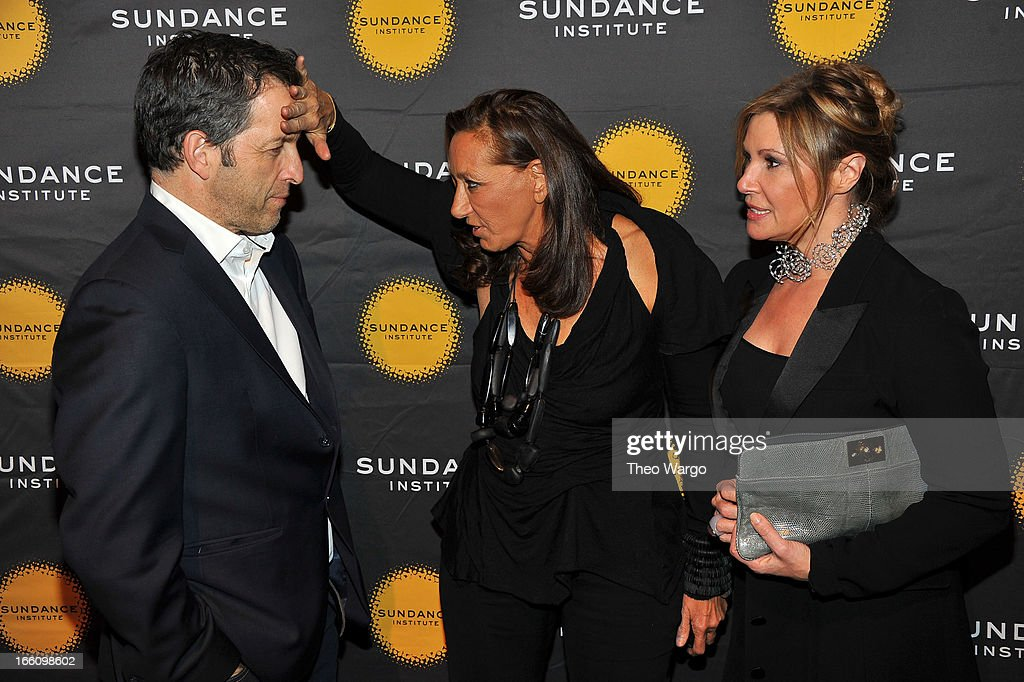 Designers Kenneth Cole (L) and Donna Karan (C) attend the Celebrate Sundance Institute benefit for its Theatre Program, supported by CÎROC Vodka at the Stephen Weiss Studio on April 8, 2013 in New York City.