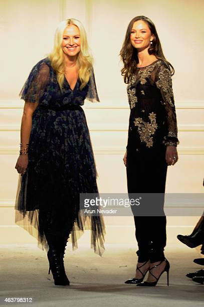 Designers Keren Craig and Georgina Chapman walk the runway at the Marchesa fashion show during MercedesBenz Fashion Week Fall at St Regis Hotel on...