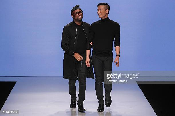 Designers Kirk Pickersgill and Stephen Wong walk the runway during the Greta Constantine fashion show at David Pecaut Square on March 18 2016 in...