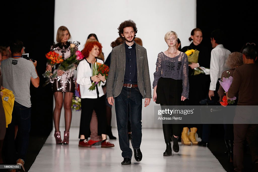 Designers L. Tymosh, Alisa Gagarina, Koroleva Katerina, Sirena Vi, Olga Plenkina, Yulya Bazhina and Julia Cesar appear on the runway for the finale of the Contrfashion show during Mercedes-Benz Fashion Week Russia S/S 2014 on October 28, 2013 in Moscow, Russia.