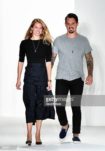 Designers Laura Vassar and Kristopher Brock walk the runway at the Brock Collection fashion show during New York Fashion Week September 2016 at Milk...