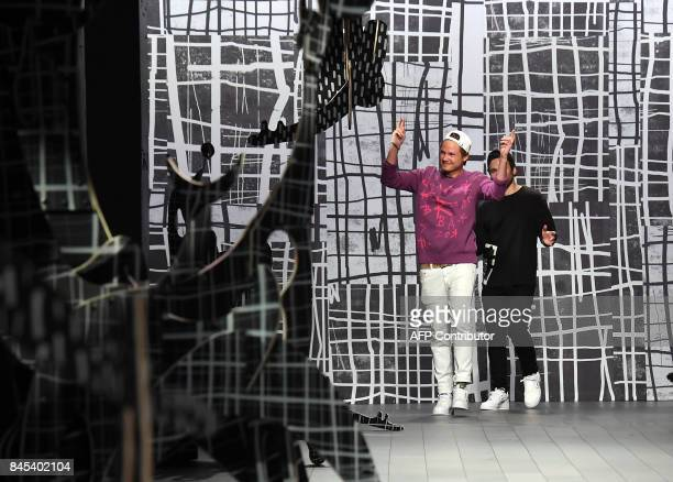 Designers Laurence Chandler and Joshua Cooper walk the runway for Rochambeau fashion show during New York Fashion Week The Shows at Gallery 1...