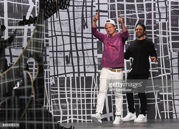 Designers Laurence Chandler and Joshua Cooper walk the runway for the Rochambeau fashion show during New York Fashion Week The Shows at Gallery 1...