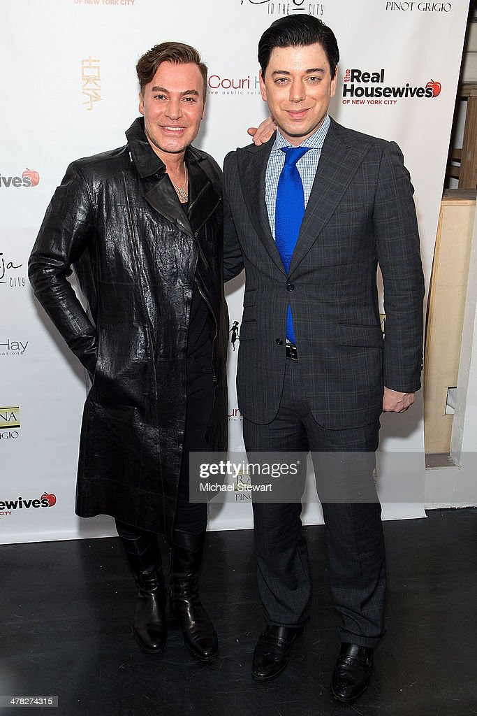 Designers Loris Diran (L) and Malan Breton attends the 'The Real Housewives Of New York City' season six premiere party at Tokya on March 12, 2014 in New York City.