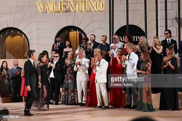 Designers Maria Grazia Chiuri Pier Paolo Piccioli Franca Sozzani Giancarlo Giammetti Gwyneth Paltrow and Valentino Garavani attend during the...
