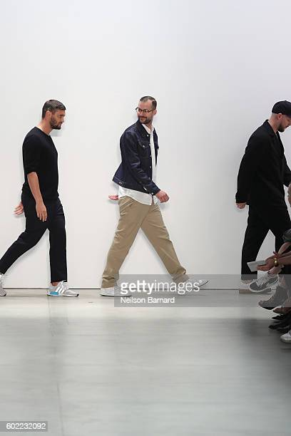 Designers Matthias Weber Florian Feder and Niklaus Hodel walk the runway at Band Of Outsiders fashion show during New York Fashion Week The Shows...