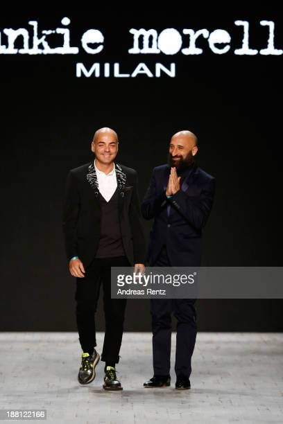 Designers Maurizio Modica and Pierfrancesco Gigliotti on the runway after the Frankie Morello show during MercedesBenz Fashion Days Zurich 2013 on...
