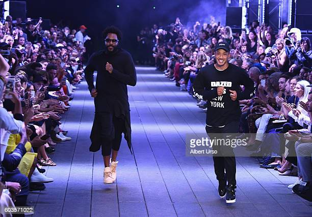Designers Maxwell Osborne and DaoYi Chow rundown the runway at the DKNY Women fashion show during New York Fashion Week The Shows September 2016 at...