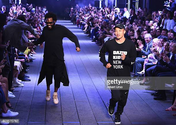 Designers Maxwell Osborne and DaoYi Chow walk the runway at the DKNY Women fashion show during New York Fashion Week The Shows September 2016 at the...