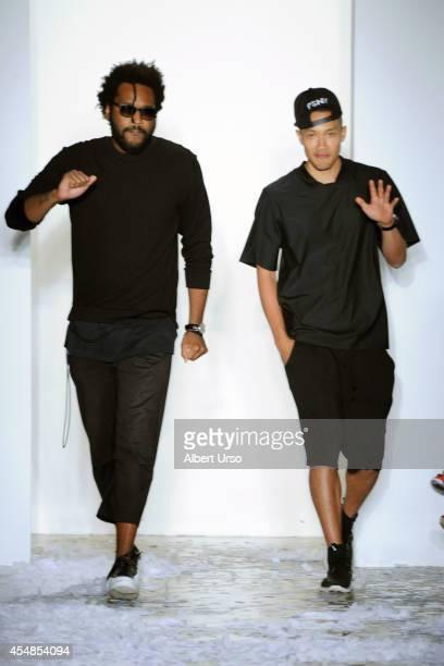 Designers Maxwell Osborne and DaoYi Chow walk the runway at the Public School fashion show during MercedesBenz Fashion Week Spring 2015 at Milk...