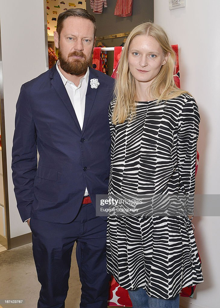 Designers Mika Pirainen and Aino Maija Metsok attend the Gotham Magazine Celebrates An Evening Of The Art Of Printmaking At Marimmeko on November 8, 2013 in New York City.