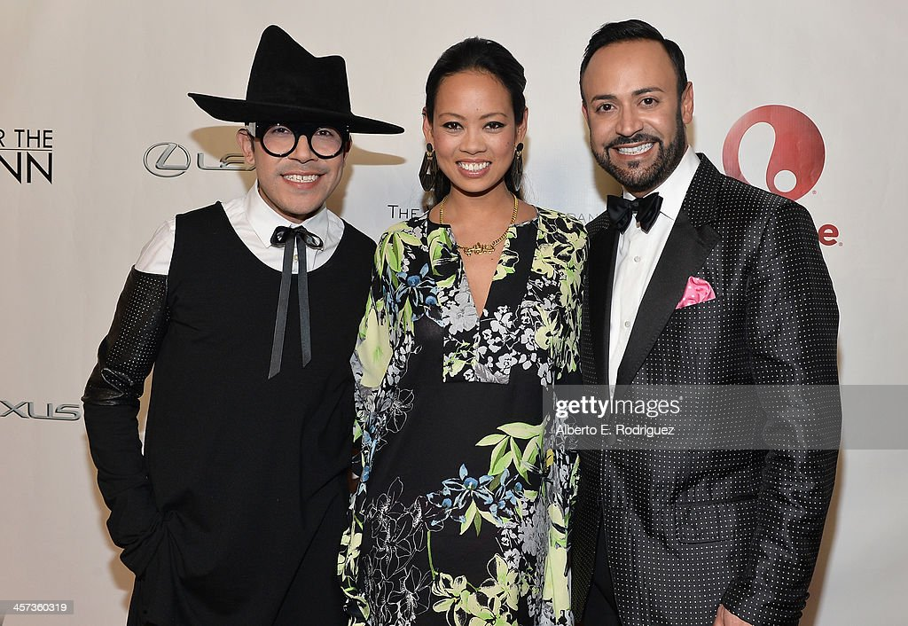 Designers Mondo Guerra, Anya Ayoung-Chee and <a gi-track='captionPersonalityLinkClicked' href=/galleries/search?phrase=Nick+Verreos&family=editorial&specificpeople=572100 ng-click='$event.stopPropagation()'>Nick Verreos</a> attend the 'Under The Gunn' Finale Fashion Show at Los Angeles Theatre on December 16, 2013 in Los Angeles, California.