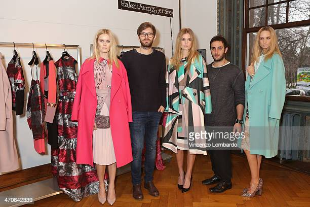 Designers Nicolo Bologna and Marco Giugliano pose with models during the Marco Bologna Presentation as part of Milan Fashion Week Womenswear...