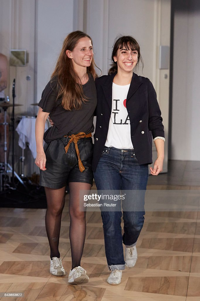 Designers Odely Teboul and <a gi-track='captionPersonalityLinkClicked' href=/galleries/search?phrase=Annelie+Augustin&family=editorial&specificpeople=9519085 ng-click='$event.stopPropagation()'>Annelie Augustin</a> are seen on the runway at the Augustin Teboul show during the Mercedes-Benz Fashion Week Berlin Spring/Summer 2017 at Kronprinzenpalais on June 30, 2016 in Berlin, Germany.