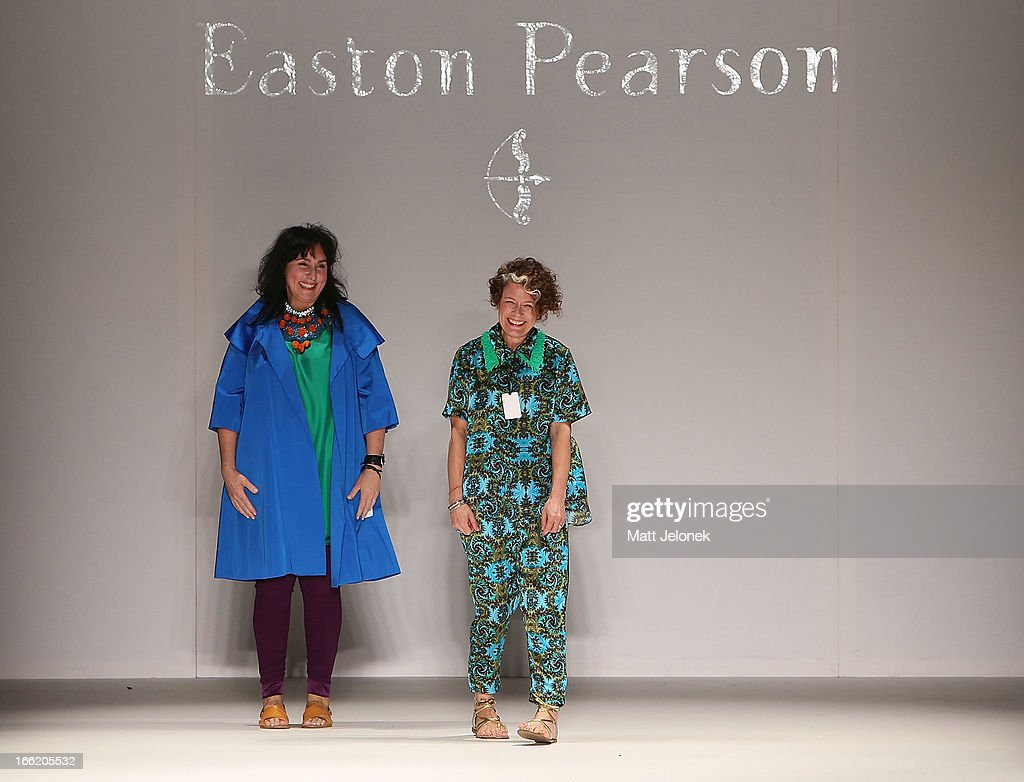 Designers of Easton Pearson Lydia Pearson and Pamela Easton on the runway at the MercedesBenz Presents Easton Pearson show during MercedesBenz...
