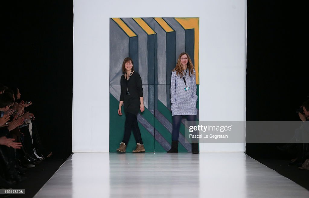 Designers Pauline Kartovitskaya and Larisa Stepanova of Historia Naturalis on the runway after BOIT SIK at Belarus Fashion Week Collective Show during Mercedes-Benz Fashion Week Russia Fall/Winter 2013/2014 at Manege on April 1, 2013 in Moscow, Russia.