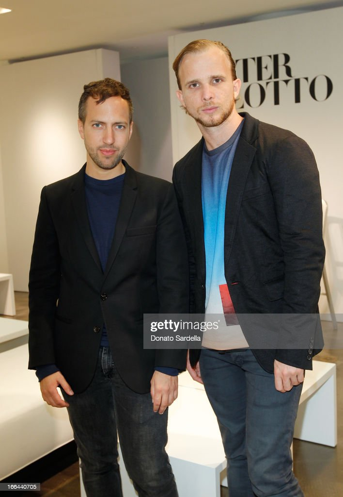 Designers Peter Pilotto and Christopher De Vos attend Saks Fifth Avenue presents Peter Pilotto at Saks Fifth Avenue Beverly Hills on April 12, 2013 in Beverly Hills, California.