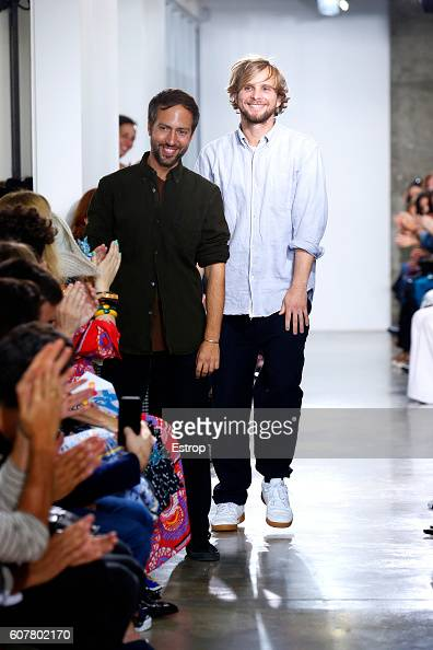 Designers Peter Pilotto Christopher de Vos walks the runway at the Peter Pilotto show during London Fashion Week Spring/Summer collections 2017 on...