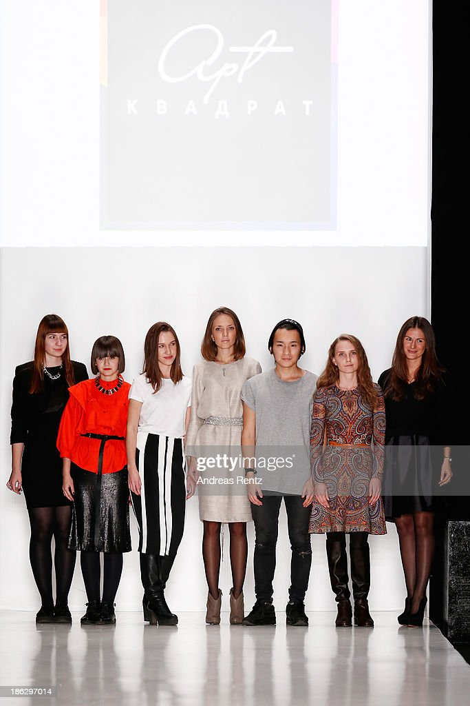 Designers Peter Starostin, Daria Matsievskaya for Villa Turgenev, Anna Denisova, Daria Sukhanova, Polina Aprelikova and The Finery by M.G. appear at the end of the runway at the ART Square show during Mercedes-Benz Fashion Week Russia S/S 2014 on October 30, 2013 in Moscow, Russia.