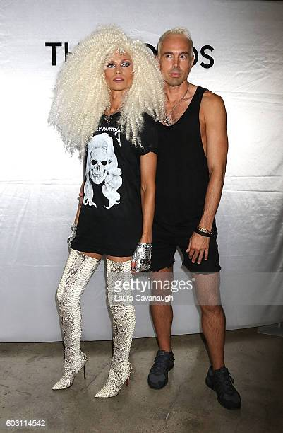 Designers Phillipe Blond and David Blond backstage at The Blonds September 2016 New York Fashion Week at Milk Studios on September 11 2016 in New...