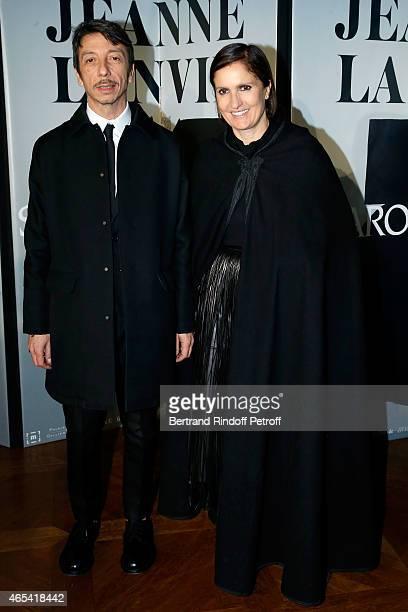 Designers Pier Paolo Piccioli and Maria Grazia Chiuri attend the Swarovski X Lanvin Cocktail Party at ShangriLa Hotel Paris on March 6 2015 in Paris...