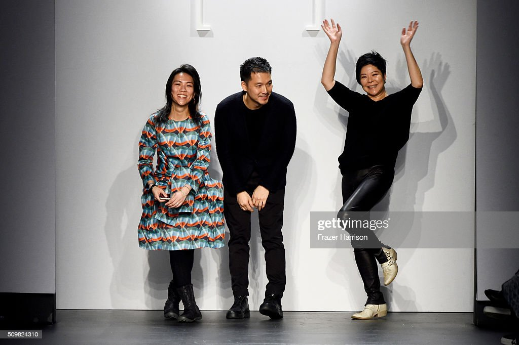 Designers Polly Ho, Harrison Wong and Hidy Ng greet the audience from the runway at Fashion Hong Kong Fall 2016 during New York Fashion Week: The Shows at The Dock, Skylight at Moynihan Station on February 12, 2016 in New York City.