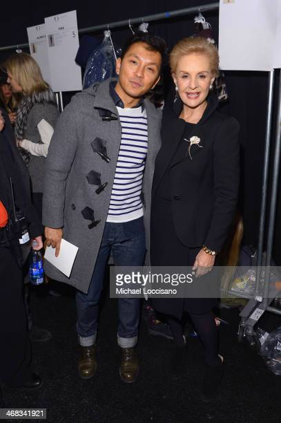 Designers Prabal Gurung and Carolina Herrera backstage at the Carolina Herrera fashion show during MercedesBenz Fashion Week Fall 2014 at The Theatre...