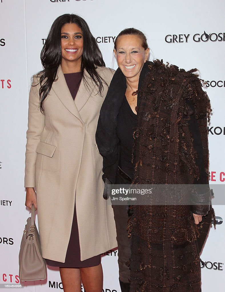 Designers Rachel Roy and Donna Karan attend the Open Road With The Cinema Society And Michael Kors Host The Premiere Of 'Side Effects' at AMC Lincoln Square Theater on January 31, 2013 in New York City.