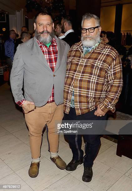 Designers Robert Tagliapietra and Jeffrey Costello attend the Chris Salgardo's 'MANMADE' book prelaunch party at Saks Fifth Avenue on November 19...