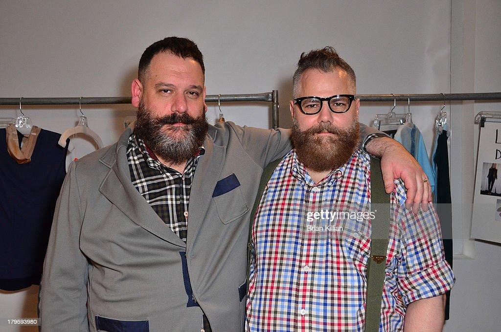 Designers Robert Tagliapietra and Jeffrey Tagliapietra attend the Costello Tagliapietra show during Spring 2014 MADE Fashion Week at Milk Studios on September 5, 2013 in New York City.