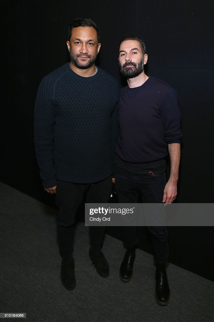 Designers Ryan Lobo (L) and Ramon Martin backstage at the Tome Fall 2016 fashion show during New York Fashion Week: The Shows at The Dock, Skylight at Moynihan Station on February 14, 2016 in New York City.
